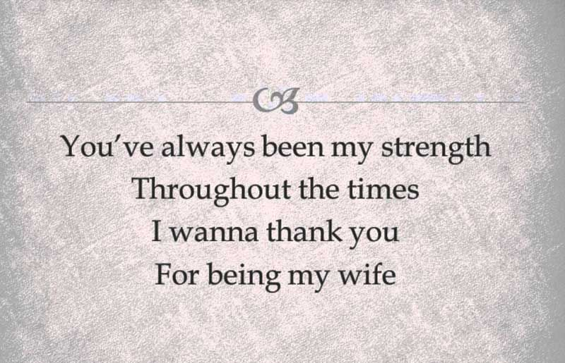 Thank you message for wife