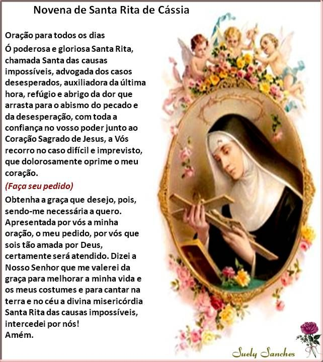 Novena De Santa Rita De Cássia Oração De Santa Rita