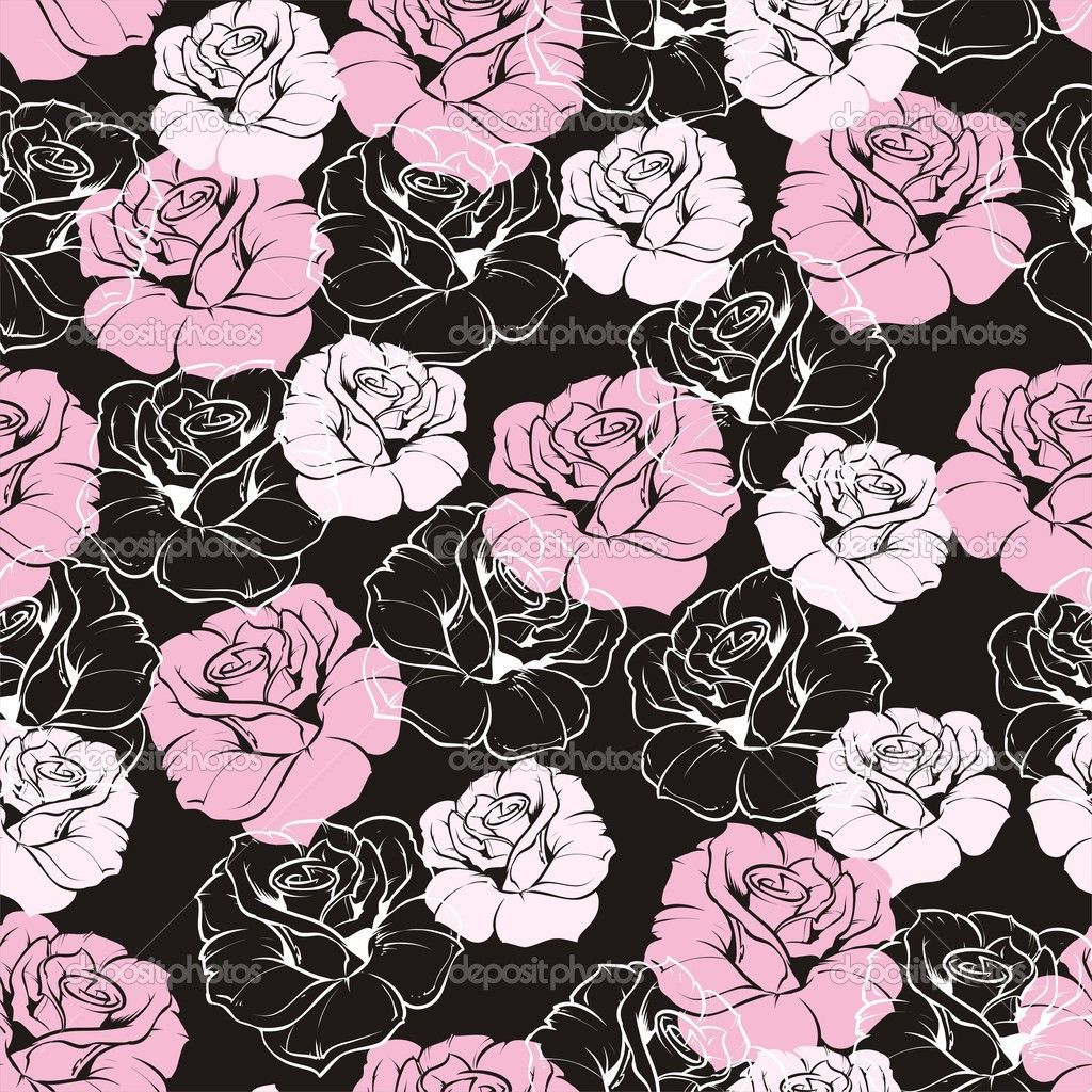 Pink and White Flowers Seamless vector retro floral