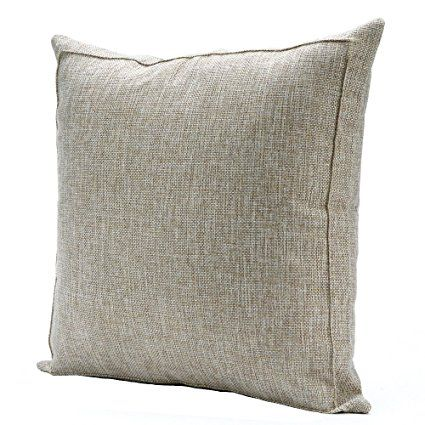 Jepeak Linen Burlap Throw Pillow Cover Home Decorative Pillowcase Protector Square Solid Handmade Sham Cushion With Zipper For Sofa X 24