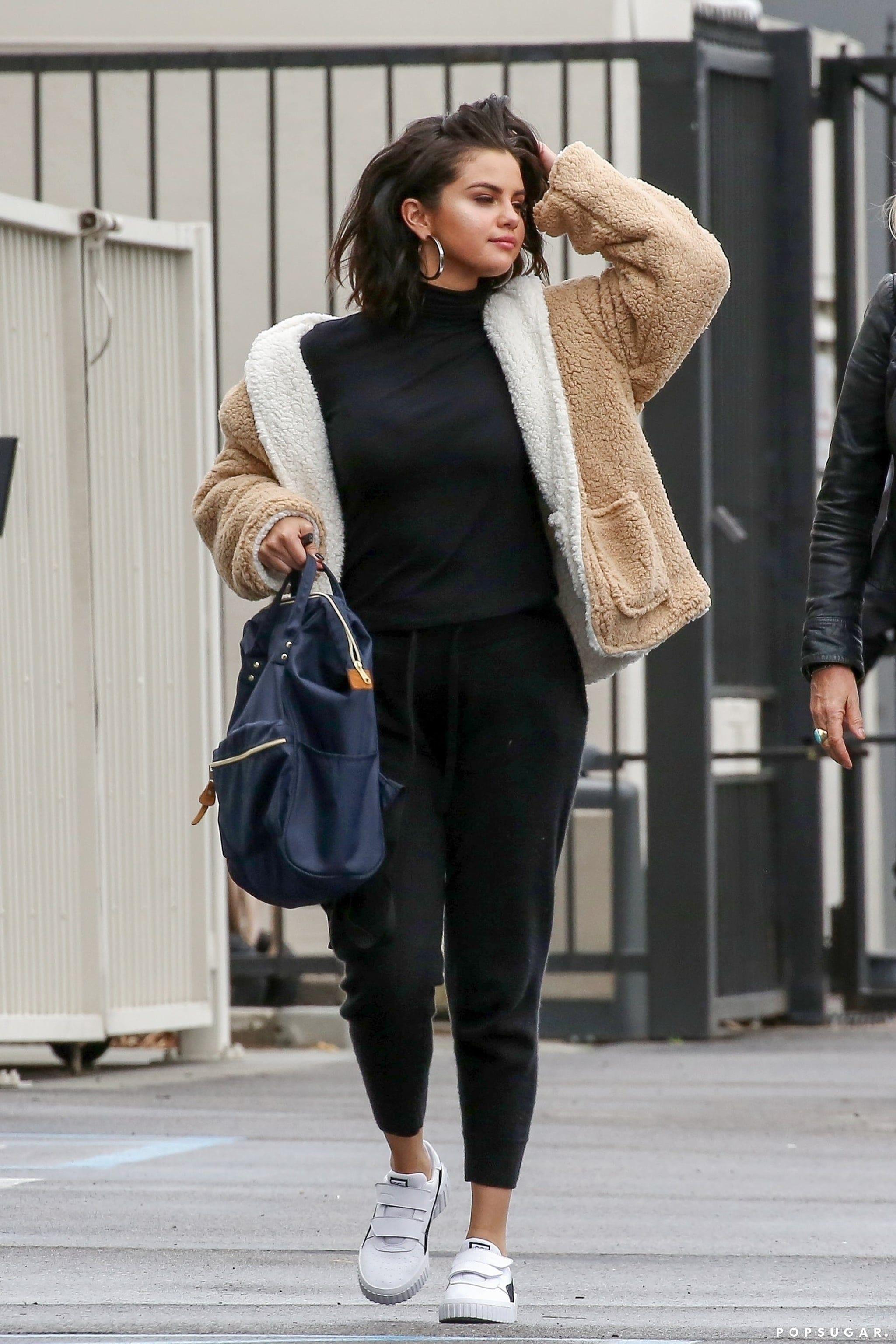 Selena Gomez Wears Fuzzy Jacket 2019 | Womens fashion | Selena gomez style, Selena gomez outfits ...