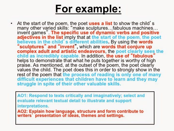 A Blog To Help Student Pas Gcse English Language And Literature Poem Aqa Level Essay Structure