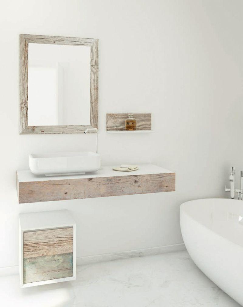 badezimmer shabby möbel hell design spiegel rahmen holz wanne ...
