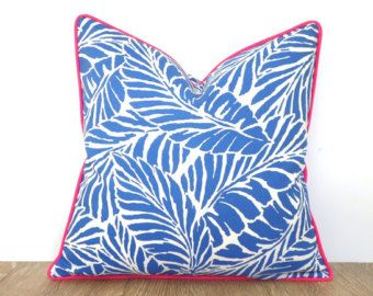 Aqua Blue Outdoor Pillow Cover 18x18 Palm Leaf Print Tropical Cushion For Outdoor Lounge Chair Blue And Pink Pillow Case Beach House Decor Pink Pillow Cases Outdoor Pillow Covers Pink Pillows