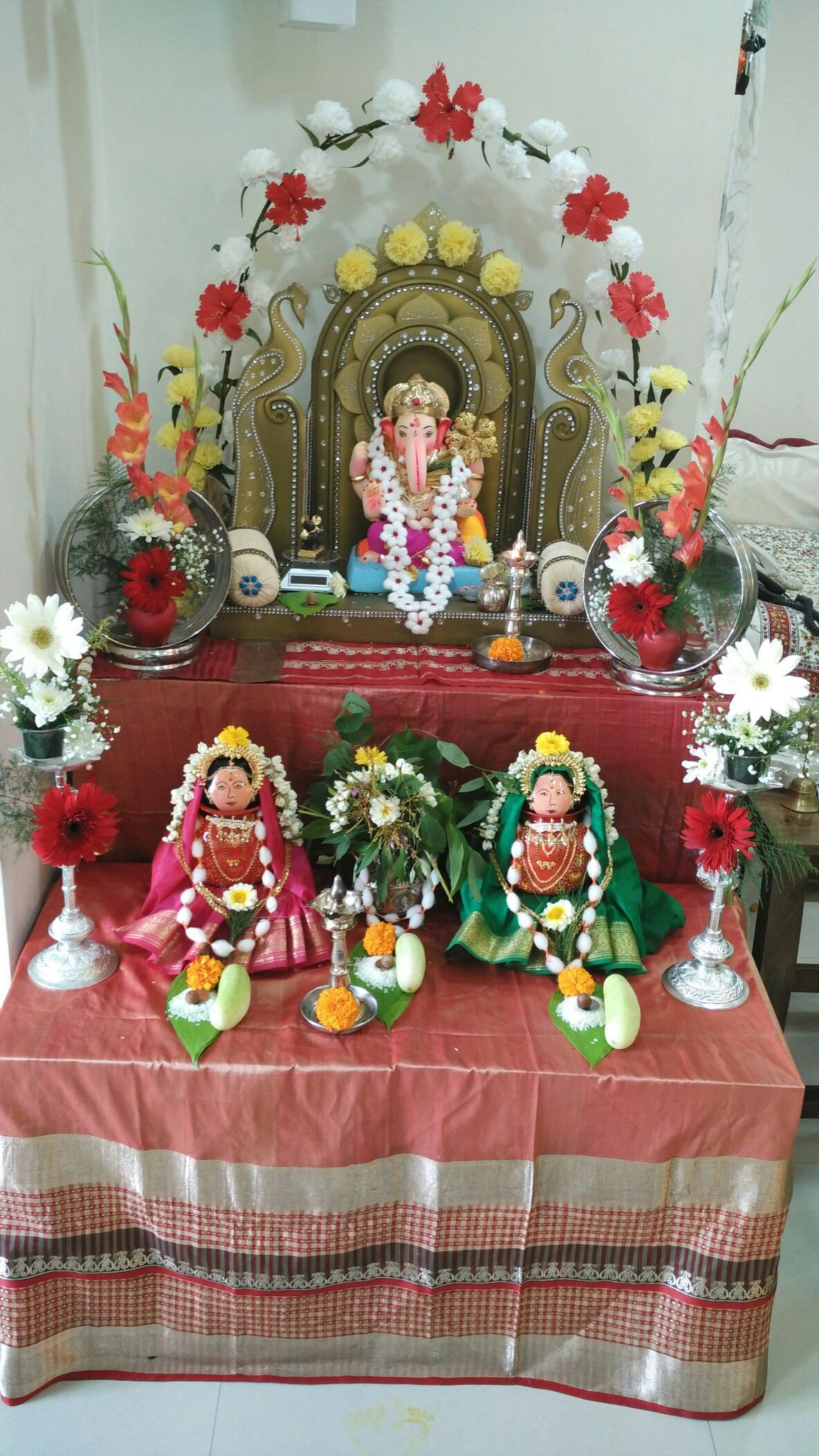 GANESH Chaturti And Gauri Pooja. Ganpati Decoration IdeasPuja RoomHouse ...