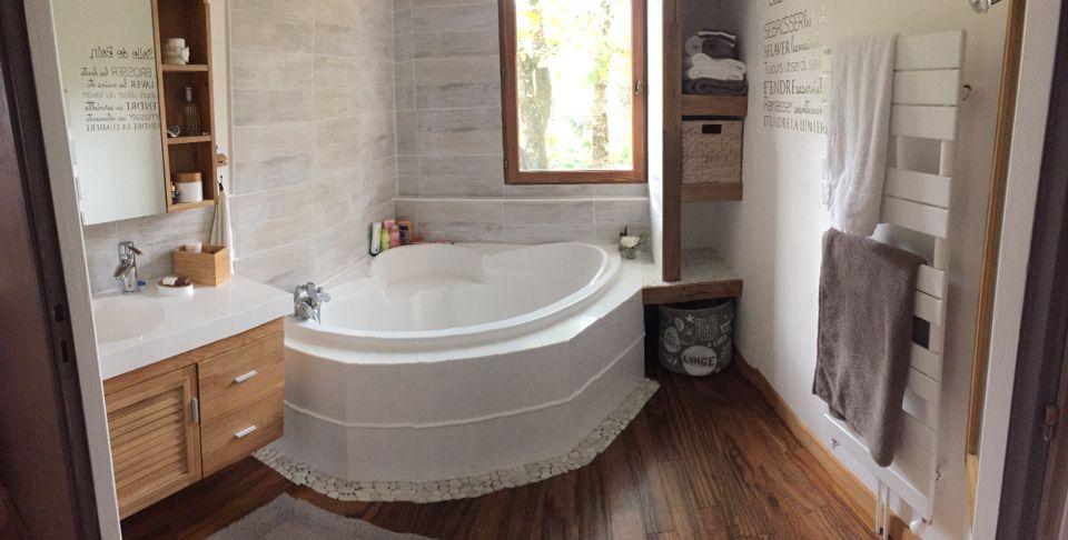Rénovation Salle de bain parquet teck, peinture faillence, baignoire