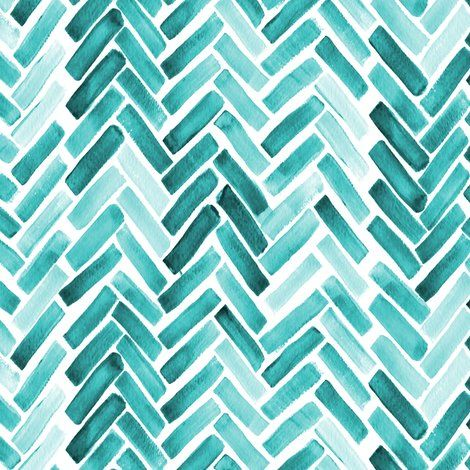 Colorful fabrics digitally printed by Spoonflower - Mint  watercolor herringbone