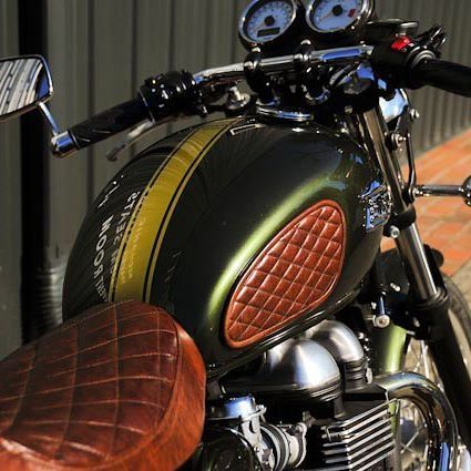 skate shoes look out for picked up Tobacco leather tank pads and seat on this @thruxton make all the ...
