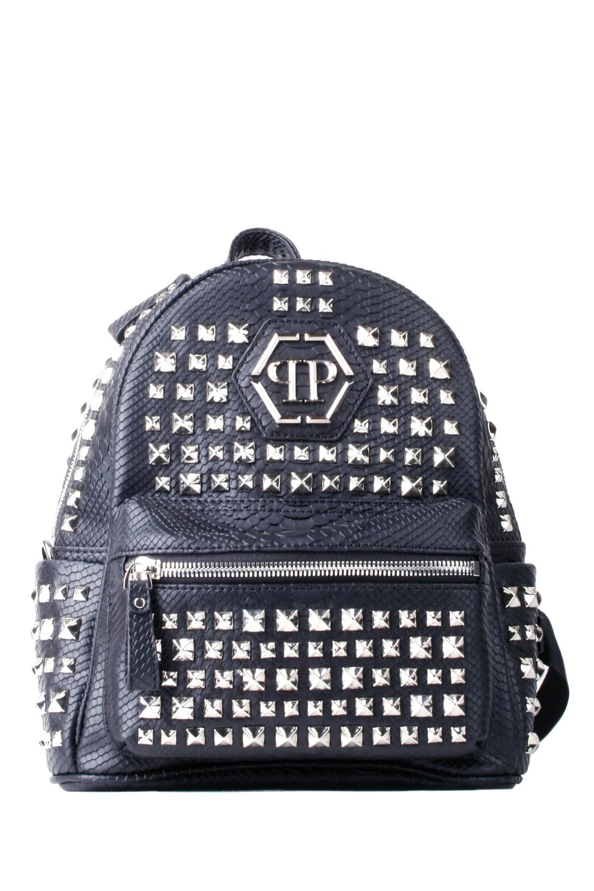 4562d58418be70 PHILIPP PLEIN BLACK FAKE LEATHER KEN STUDDED SMALL BACKPACK. #philippplein  #bags #leather #backpacks #
