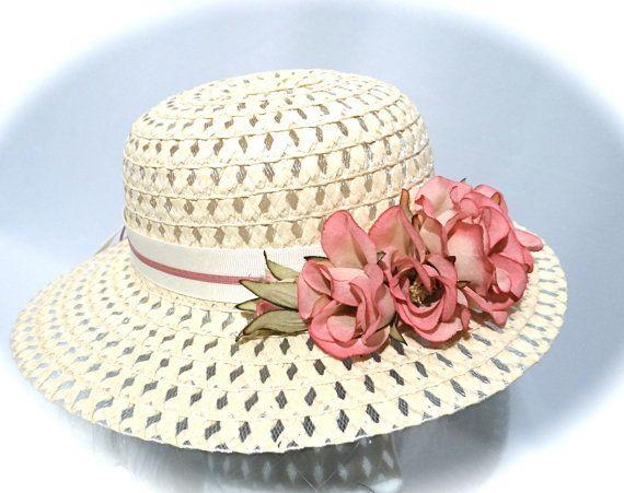 Girls Sun Hat Tea Party Hats Flower Girl Hat by Marcellefinery ... 18c251728d50