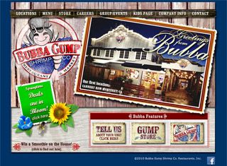 Bubba Gump's website is a good restaurant site design that leads people to interact with the site while showcasing its nationally recognized menu.