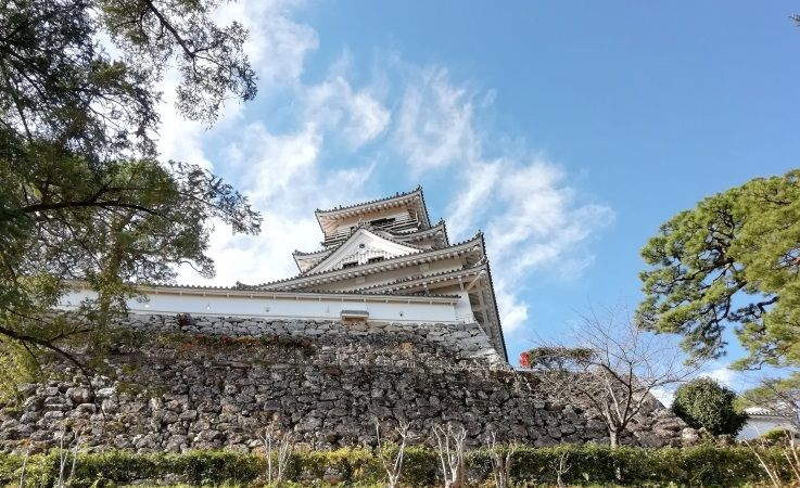 またまた四国へやってきました。前回四国に上陸してからまだ1か月も経っていませんね…。一度はまるとしばらくブームが続いてしまう家族です。今回は「13府県ふっこう周遊割」を利用するため、1日目は徳島県に泊まり・2泊目を高知県に泊まる2泊3日の旅です。今回は高知での宿泊が足摺岬の予定で、移動に時間がかかりあまり時間もなかったため、お城巡りは高知城のひとつだけです。南海の名城・高知城高知城は高知市街の中心にあります。高知駅からも徒歩で20分ほどで行くことができます。高知城のすぐ近くには大きな商店街もあり人も多くとても賑わっていました。南海地震や太平洋戦争などからの危機の乗り越えてたくさんの建造物が現存