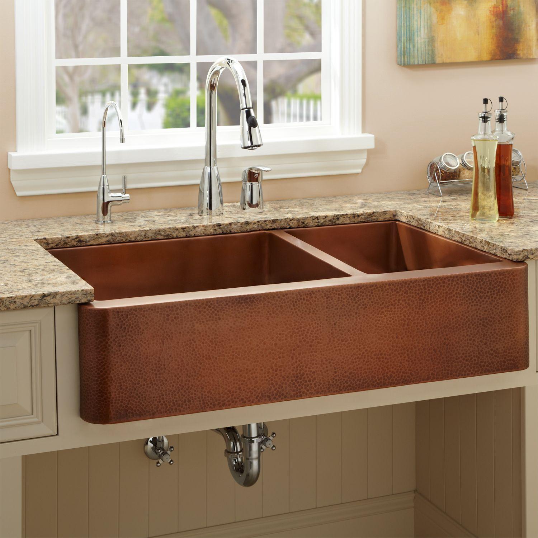 39 vernon 70 30 offset double well copper farmhouse sink modern kitchen sinks copper on kitchen sink id=12246