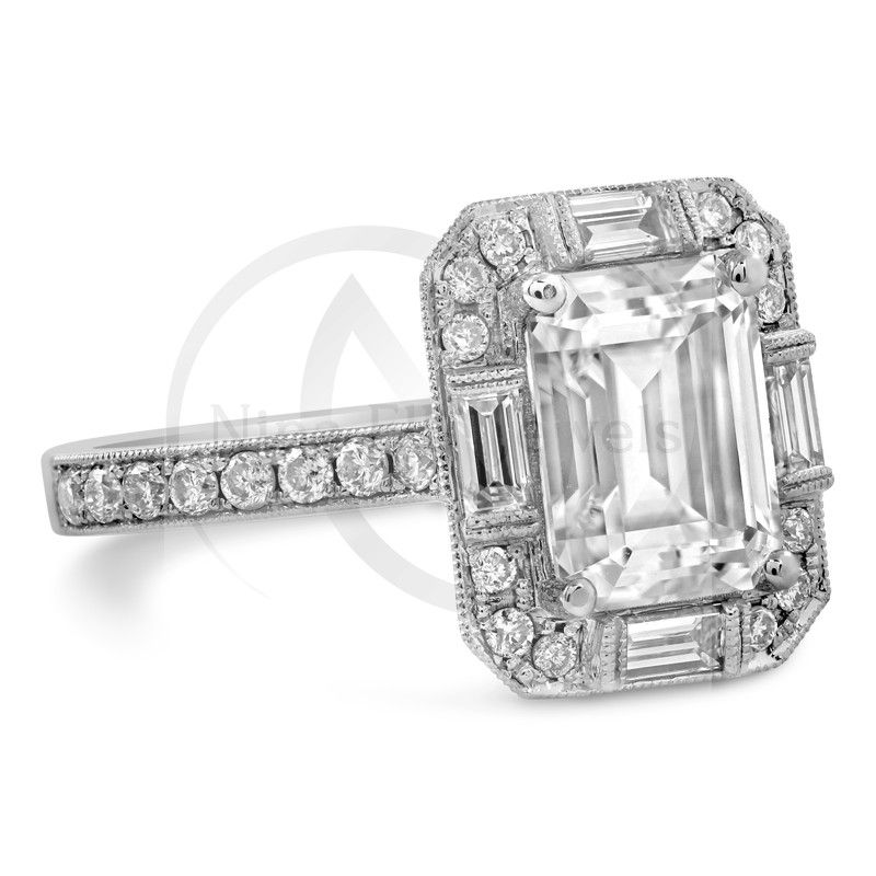 Antique Emerald Cut Moissanite Engagement Ring With Diamonds E34