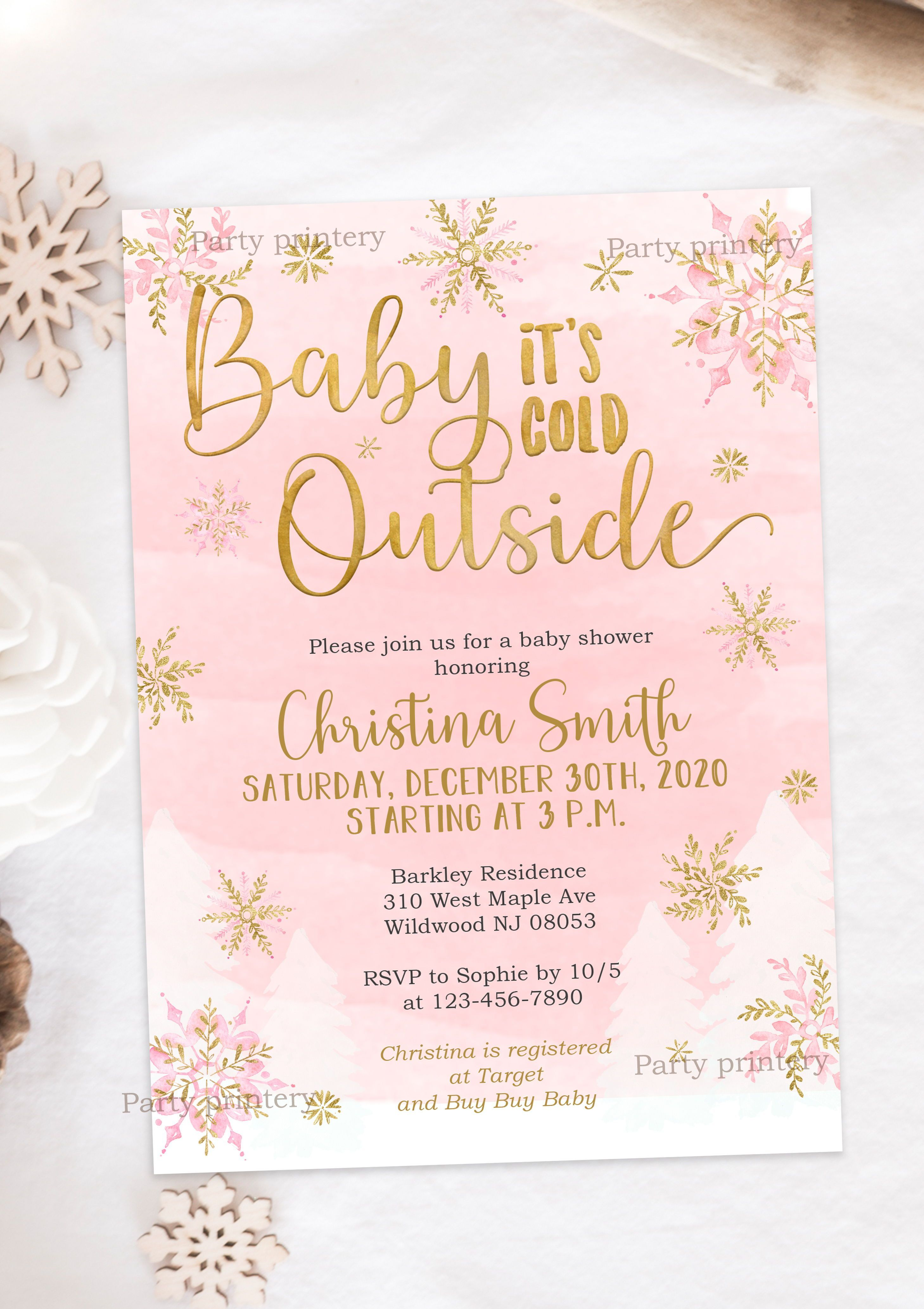 Snowflake Baby Shower Invitations For A Girl Baby Its Cold Etsy Snowflake Baby Shower Invitations Snowflake Baby Shower Baby Shower Invitations