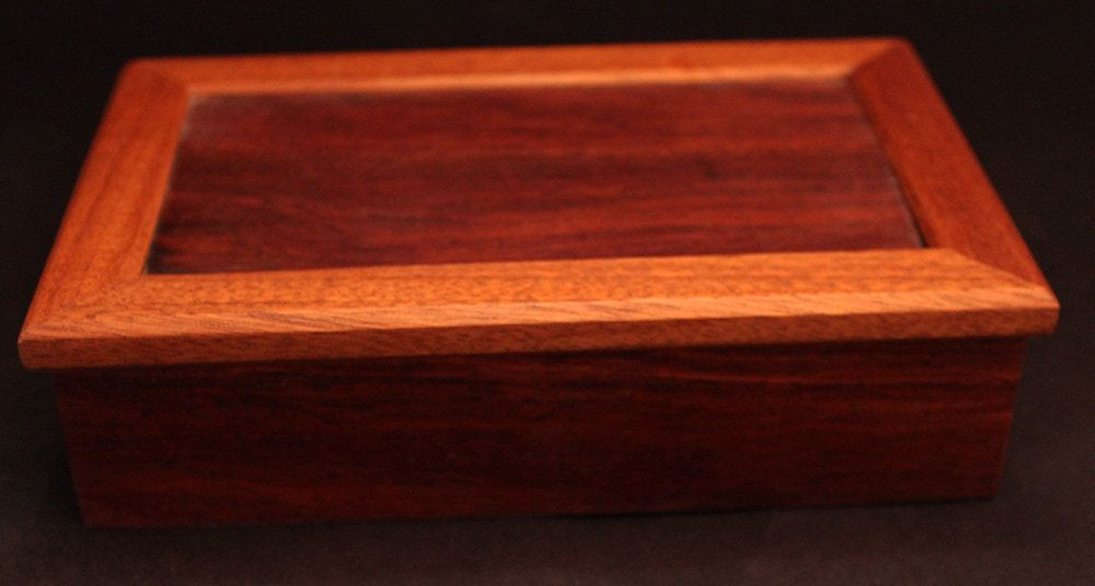 Exotic wood jewelry box cocobolo and mohagany keepsake box trinket