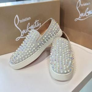 ad70c8d981d 1 1 Replica Christian Louboutin Roller Boat Slide On Pearl Spikes Low-Top  Suede Sneaker With Red Bottom