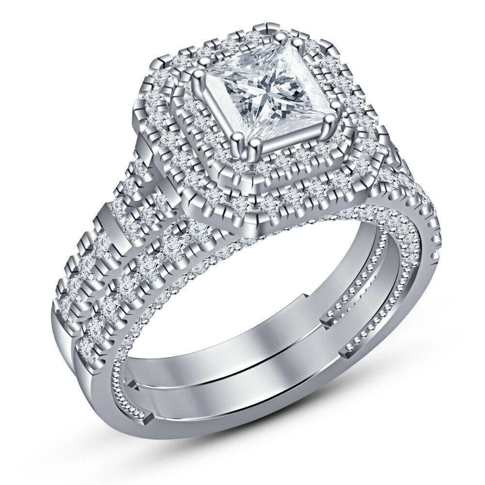 14K White Gold Over 2CT Princess Round Diamond Wedding Bridal Ring Set For Women