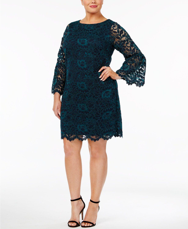 8dd2fd4ea9e66 Jessica Howard Plus Size Bell-Sleeve Lace Dress