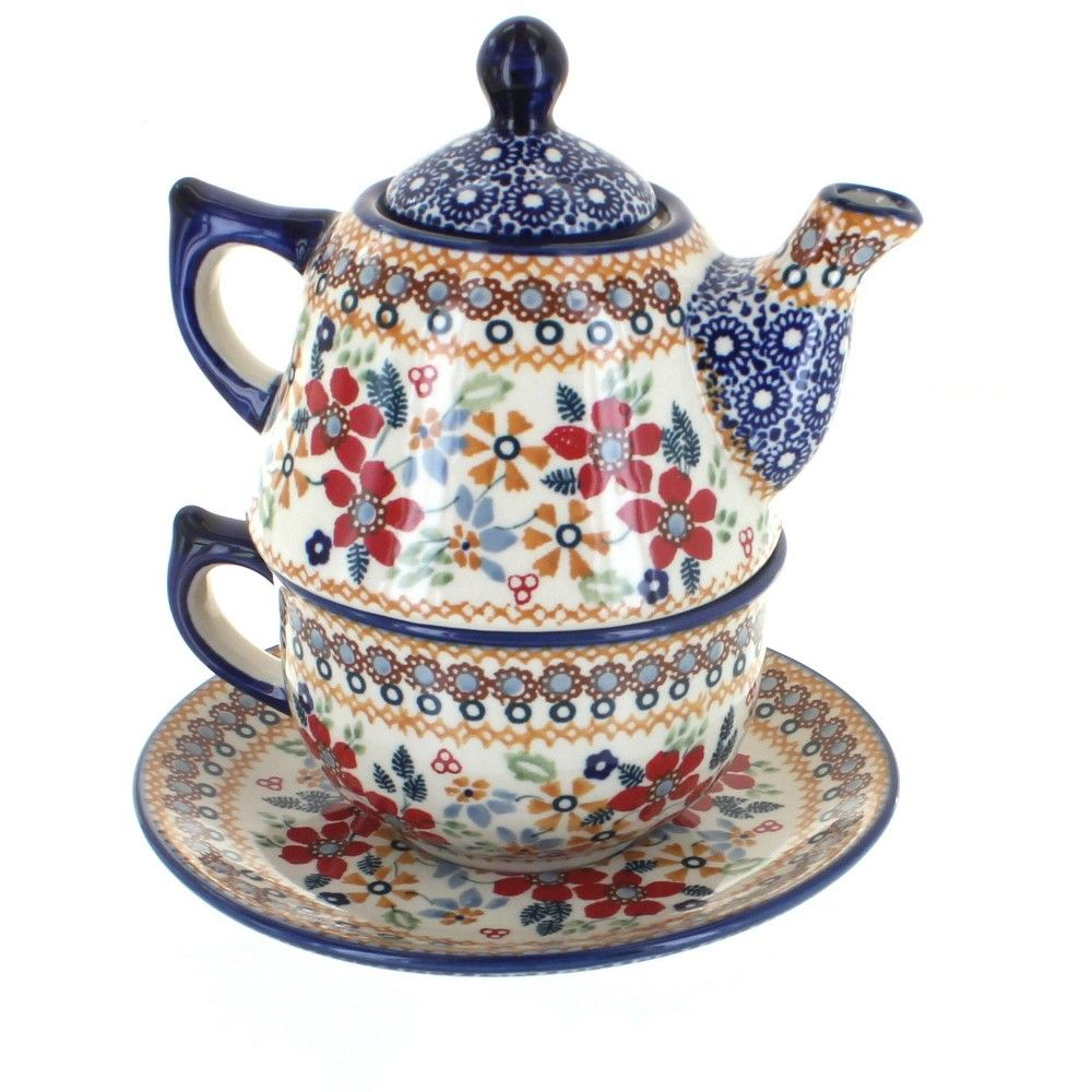 Blue Rose Polish Pottery Red Daisy Tea For One In 2020 Polish Pottery Tea For One Tea