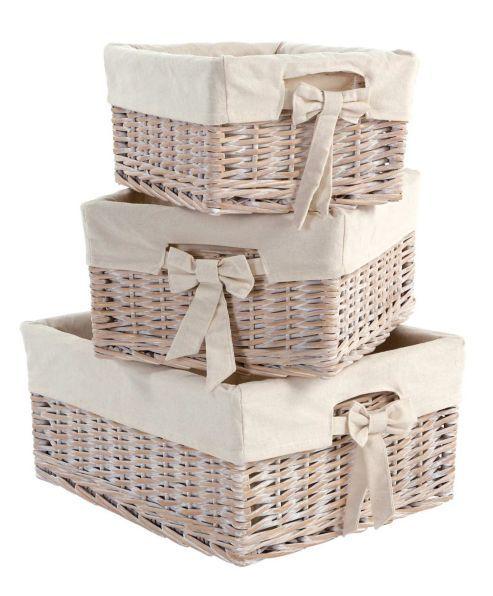 Mamas Papas Storage Baskets Set Of 3 In White Wash