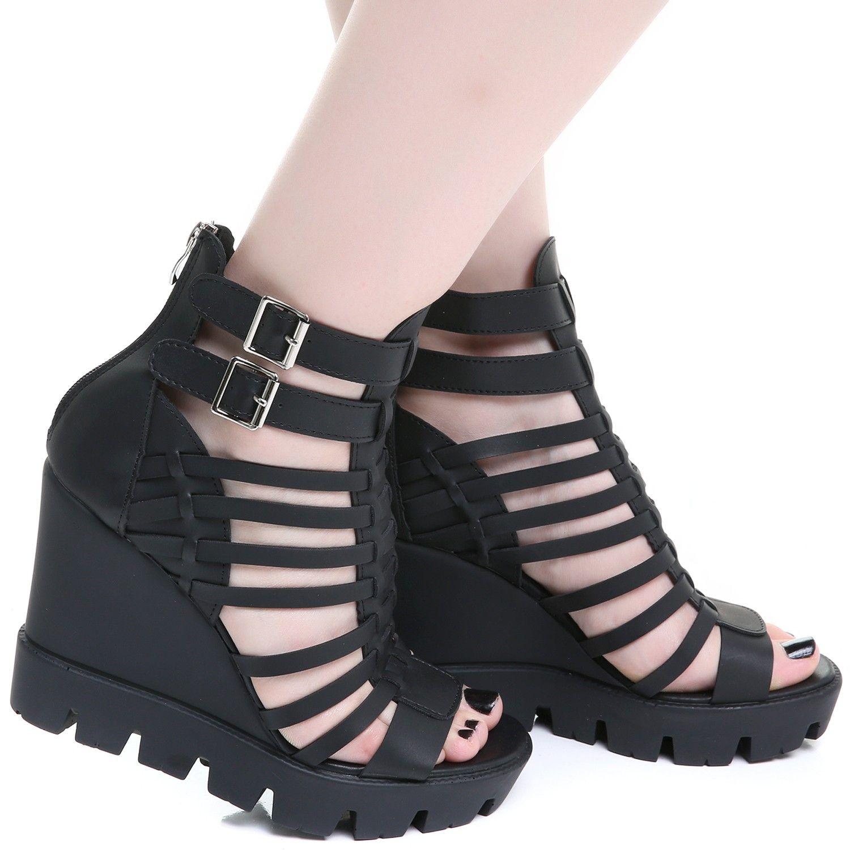 c2caff19a42 Sandales Gothiques Compensées Noires