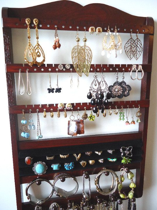 wall jewelry organizer for all types of earrings rings necklaces