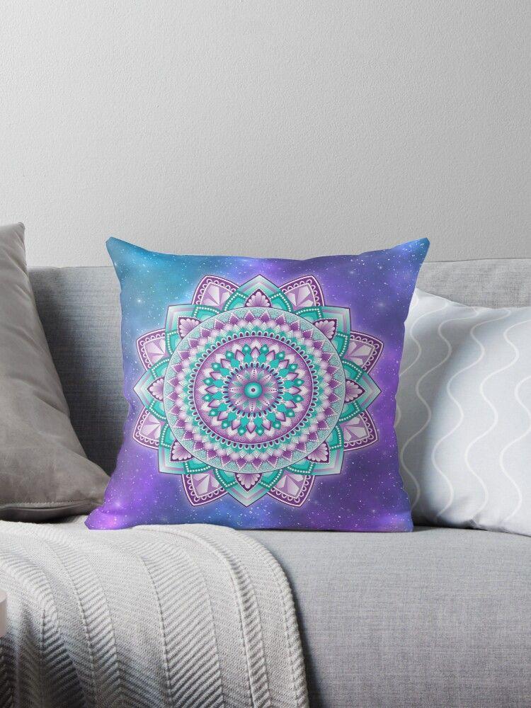 Teal and Purple Mandala Pillow