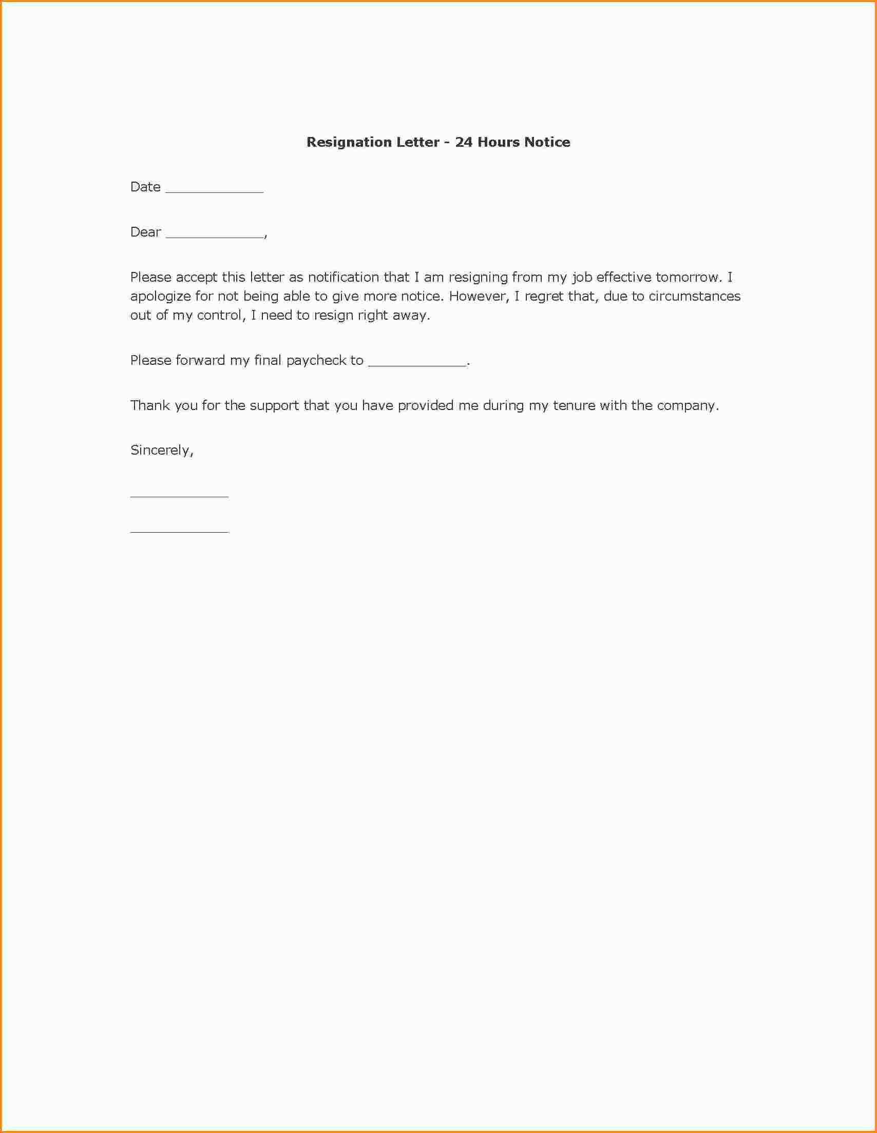 Letter Of Resignation Examples  Mac Resume Template