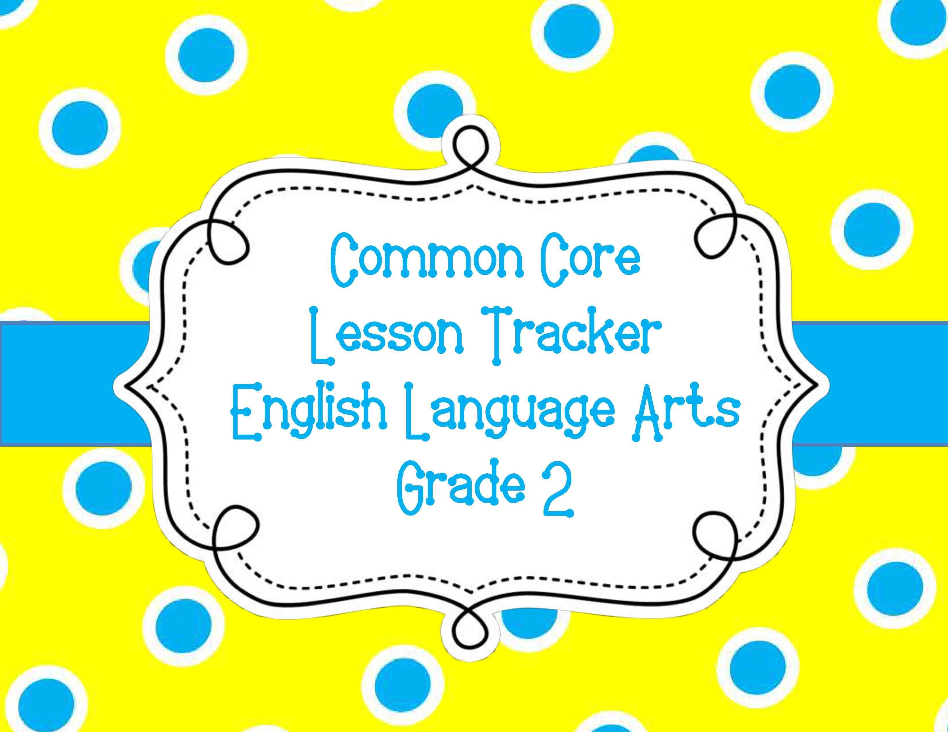 Common Core Lesson Plan Tracker Gr 2 Ela Common Core Pinterest