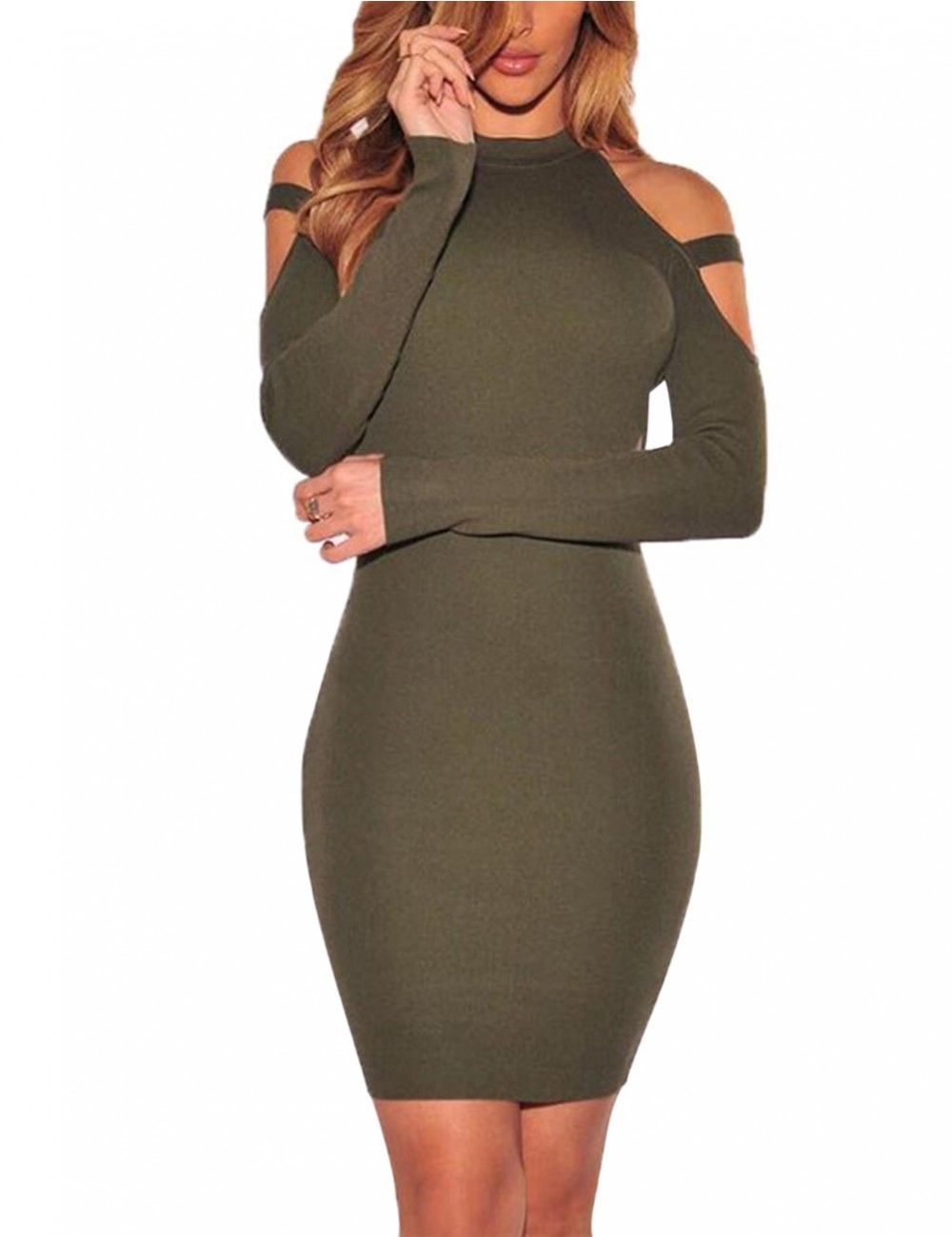 13ffb0e7dd Sexy Off Shoulder Dress Tight Dress Long Sleeve Knee-length Dress for Women  - Yesfashion.com in Free Shipping
