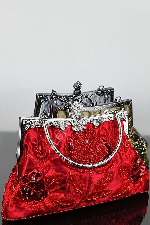 Czerwona Torebka Wieczorowa W Stylu Retro Czerwone Torebki Barok Hand Made Rękodzieło Ted Baker Icon Bag Tote Bag Handmade