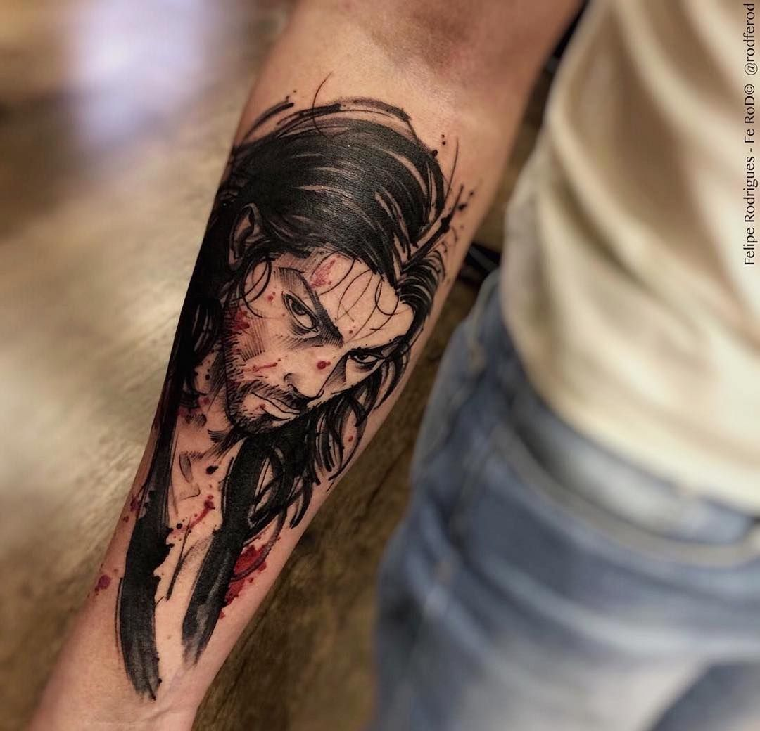 Musashi Miyamoto From Takehiko Inoues Vagabond Manga Artwork Tattoo By Rodferod Felipe Rodrigues