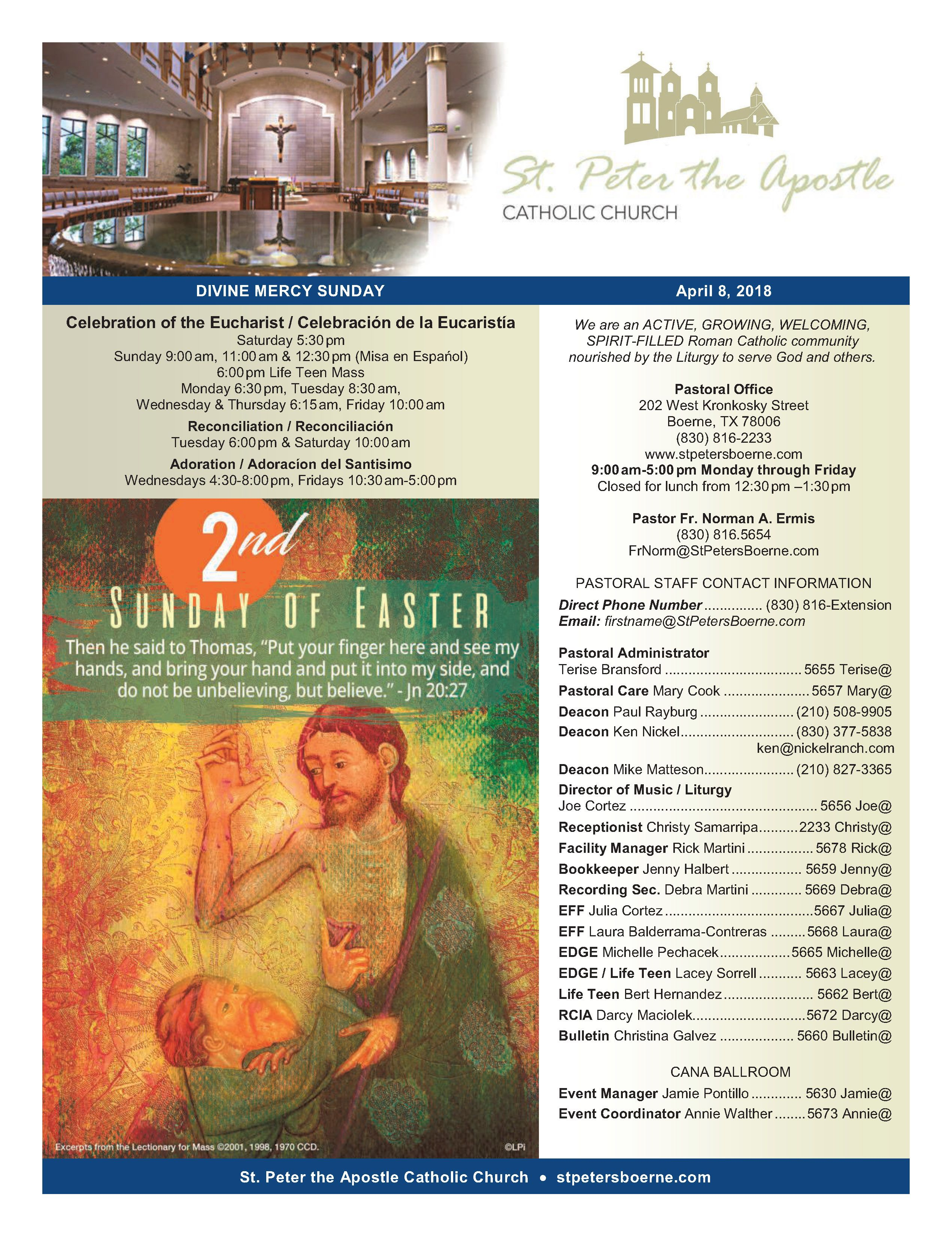 April 8, 2018 Bulletin Eucharist, Divine mercy, Divine