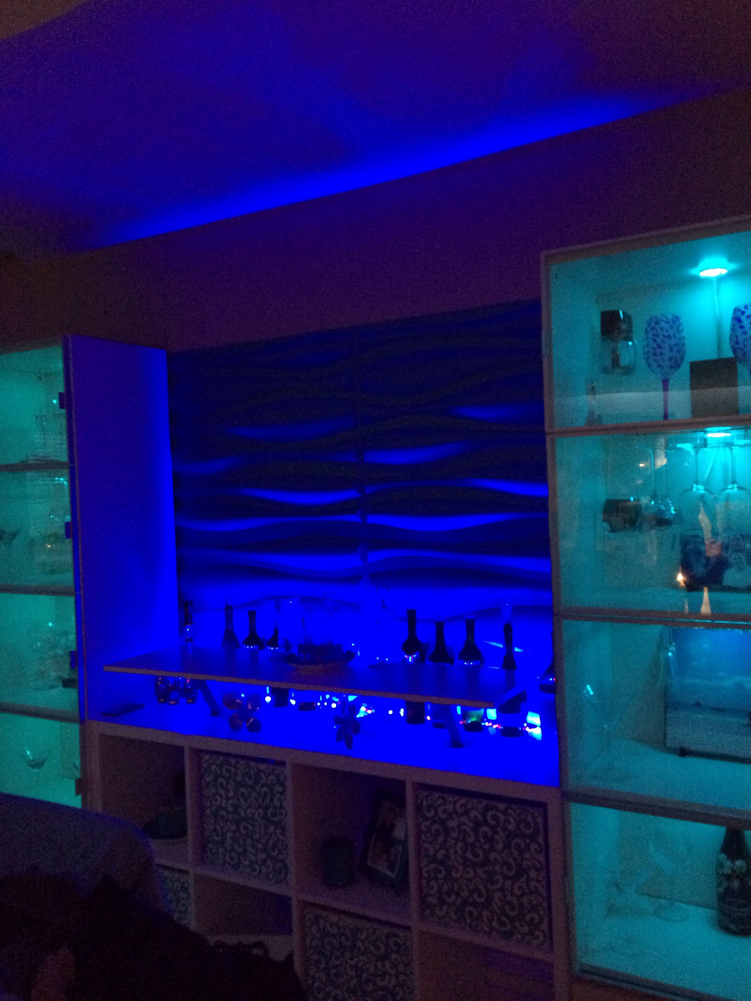 LED up lighting 3D wall panels Ikea Kallax bar hack | My Projects ...