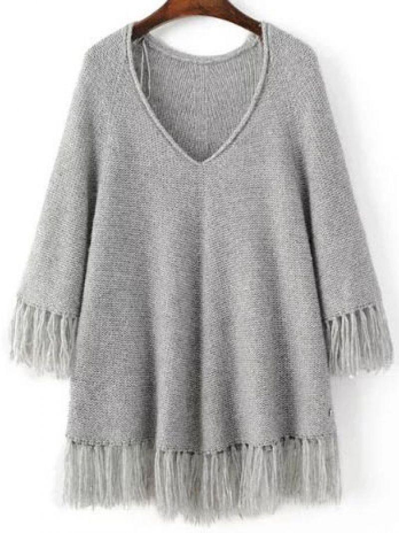 Grey V Neck Fringe Trim Oversized Sweater | Fringe trim, Gray and ...