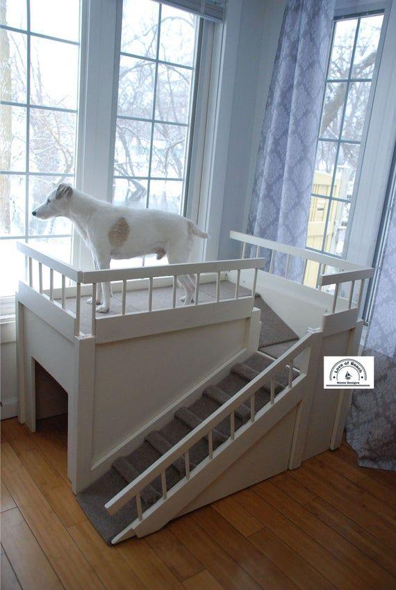 Photo of Cama elevada para perros con rampa y casa para perros plataforma elevada para cama para perros muebles para mascotas cama para perros ventana percha apartamento para perros