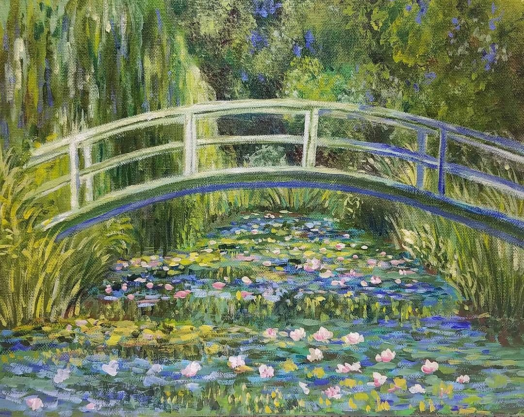 Monet Bridge Over Waterlily Pond Acrylic Painting Tutorial