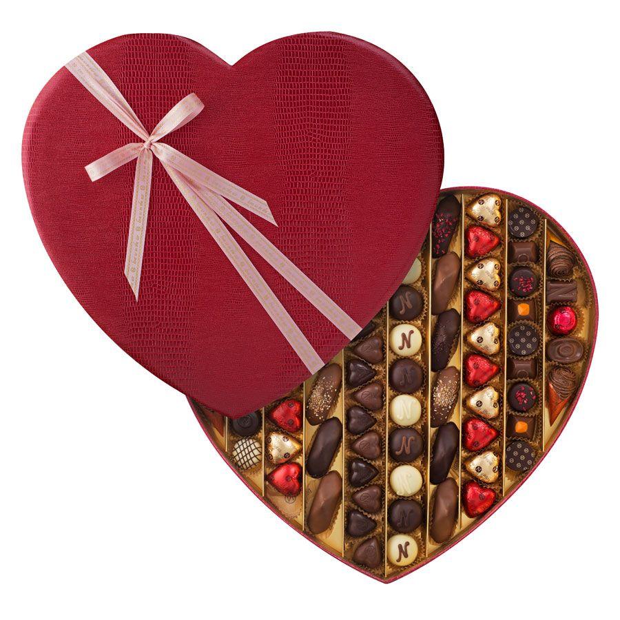 Neuhaus Valentine Luxury Leather Heart Box, 80 pcs