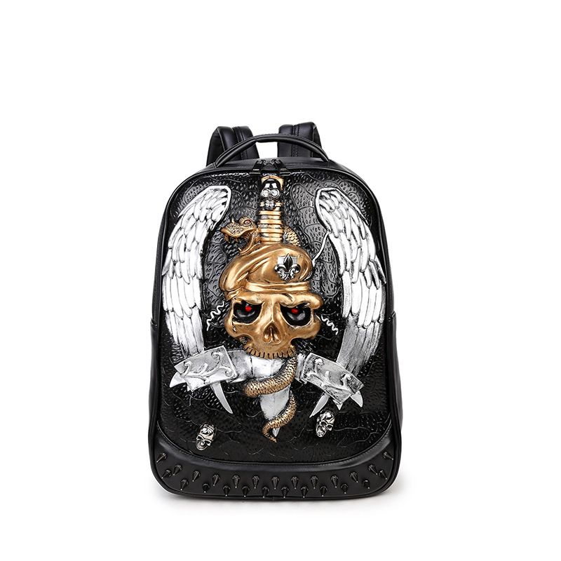 Women Backpacks for Teenage Girls Boys Black Pu Leather Male Shoulder Bags  Hot Sale Women Skull 8d1ed4971a7f8