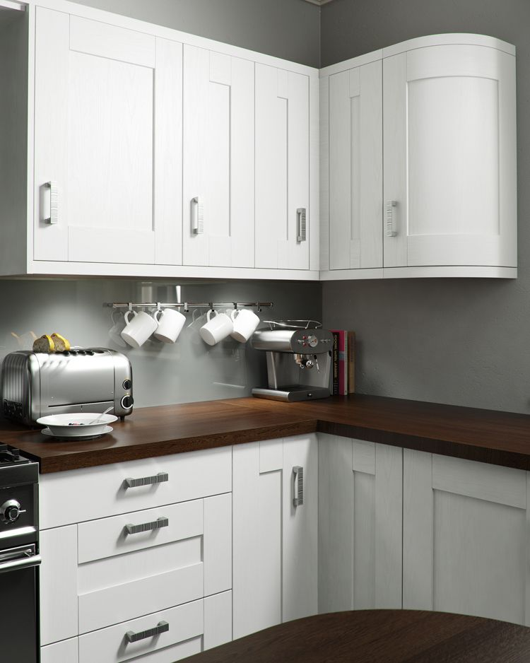 Modern White Shaker Kitchen american walnut elegantly enrichedthe white ice worktop and a