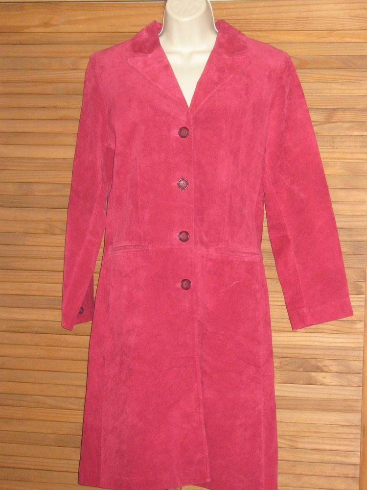 Stylish Vintage Margaret Godfrey Fushia Suede Leather Coat
