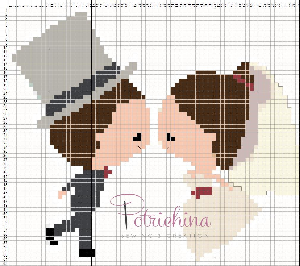 Wedding Sposini Sposi Matrimonio Schema Punto Croce Cross Stitch