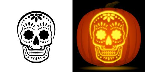 pumpkin template sugar skull  Sugar Skull Pumpkin Stencil | Sugar skull pumpkin stencil ...