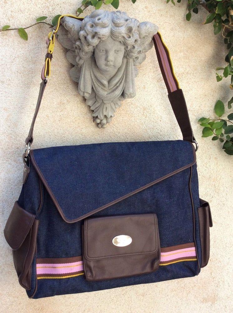 3c7870b940 Christine Price Edith Denim   Leather Diaper Bag Travel Tote Laptop  Messenger  ChristinePrice  Messenger  leather  denim  lapton  diaper  bag   tote  travel ...