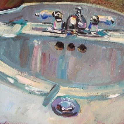 The Bathroom Sink 5x5 Oil On Canvas Original Art Painting By