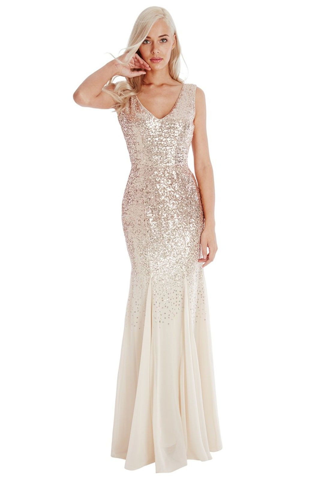 Goddiva Silver Sequin Chiffon Inserts Maxi Dress Prom Party Bridesmaid Ball Gown