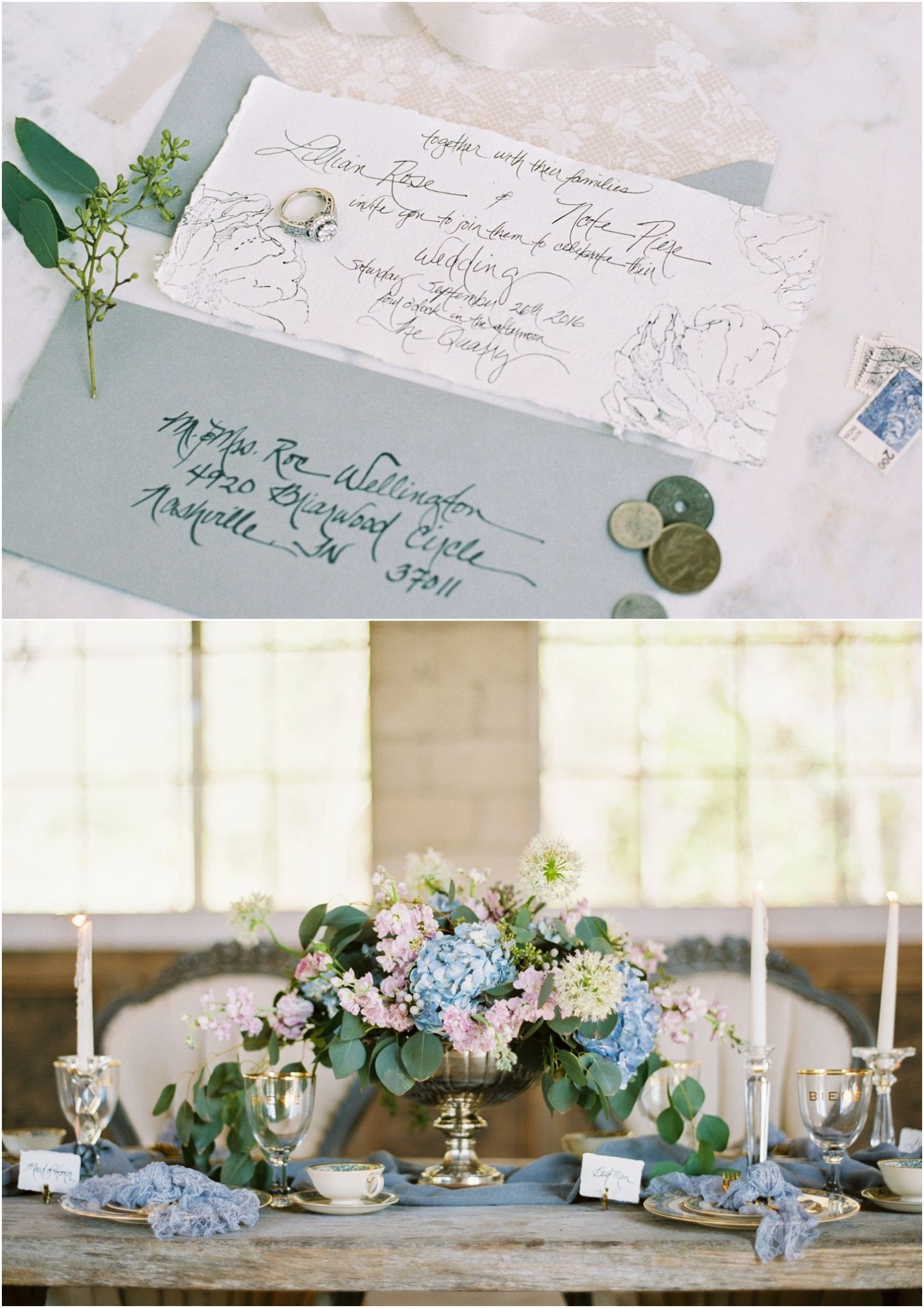 Love this elegant calligraphy wedding invitation and blue and gold ...