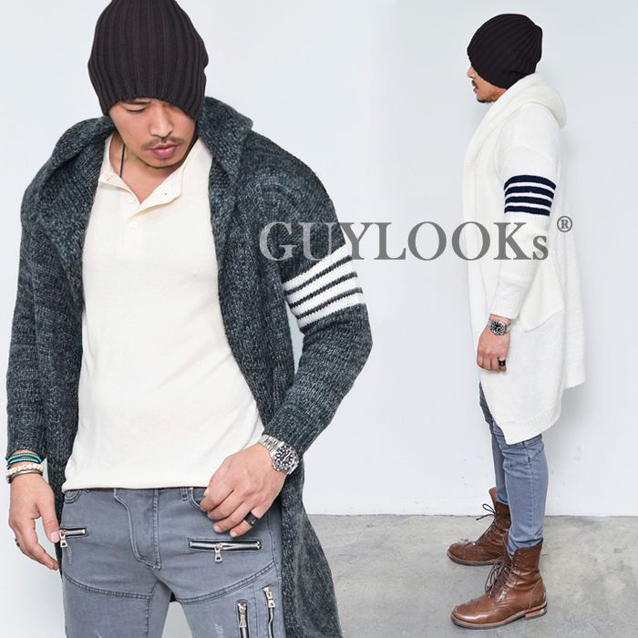 Stripe Contrast Arm Mens Long Wool Sweater Hooded Cardigan Knit ...