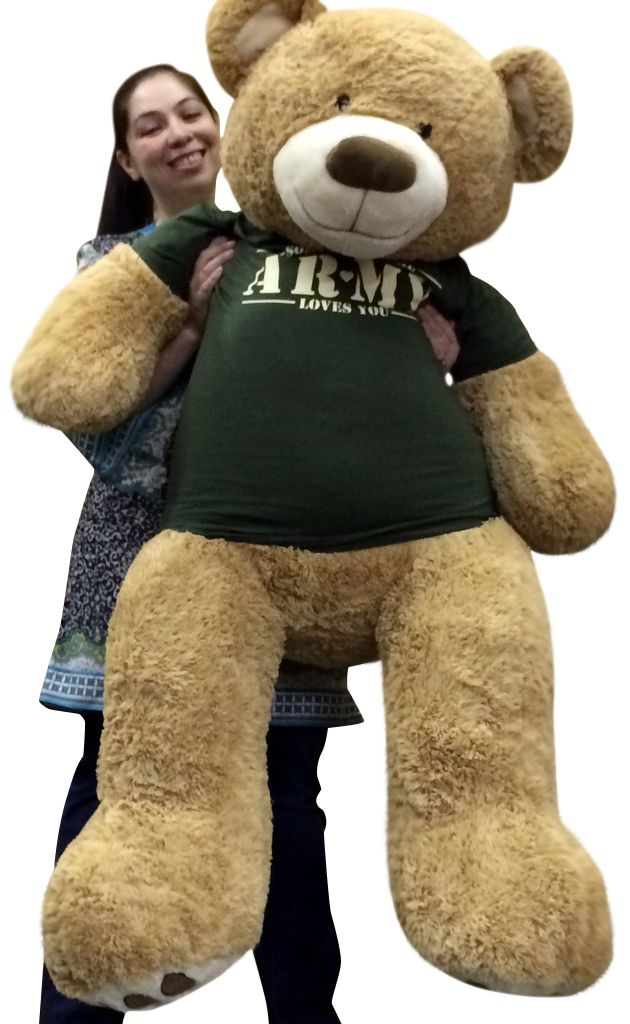 Delightful Big Plush Personalized Giant Teddy Bears And Custom Large Stuffed Animals    Giant 5 Foot Romantic Teddy Bear Wearing Tshirt That Says SOMEBODY IN THE  ARMY ...